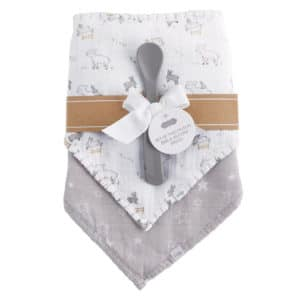 Lamb Muslin Bib and Spoon Set