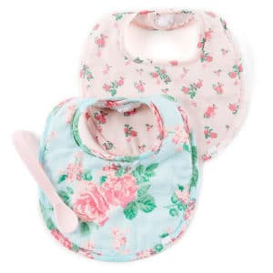 Rose Muslin Bib and Spoon Set