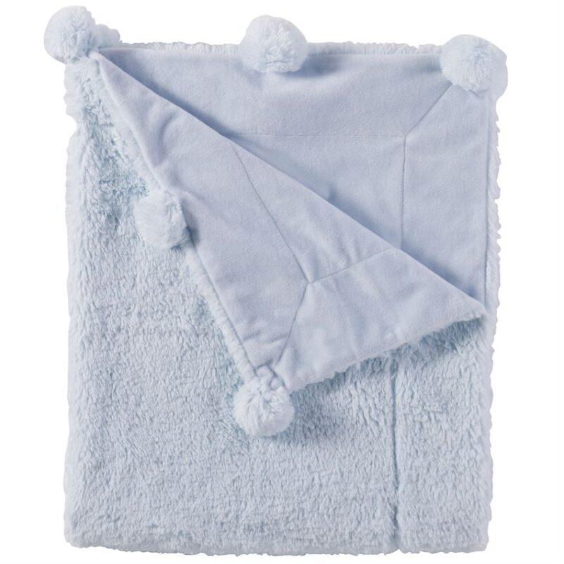 Blue Plush Pom Pom Blanket