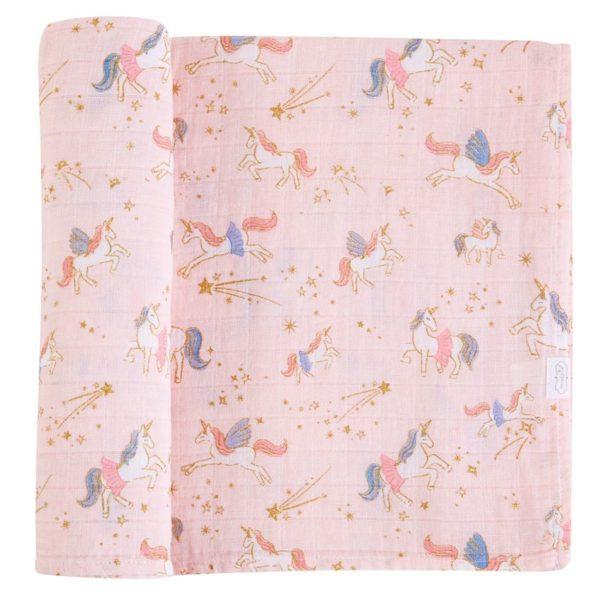 Fairy Unicorn Muslin Swaddle Blanket