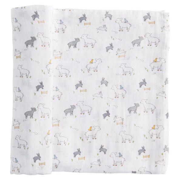 Little Lamb Muslin Swaddle Blanket