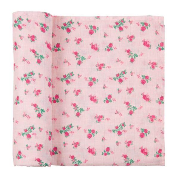 Pink Rosette Muslin Swaddle Blanket