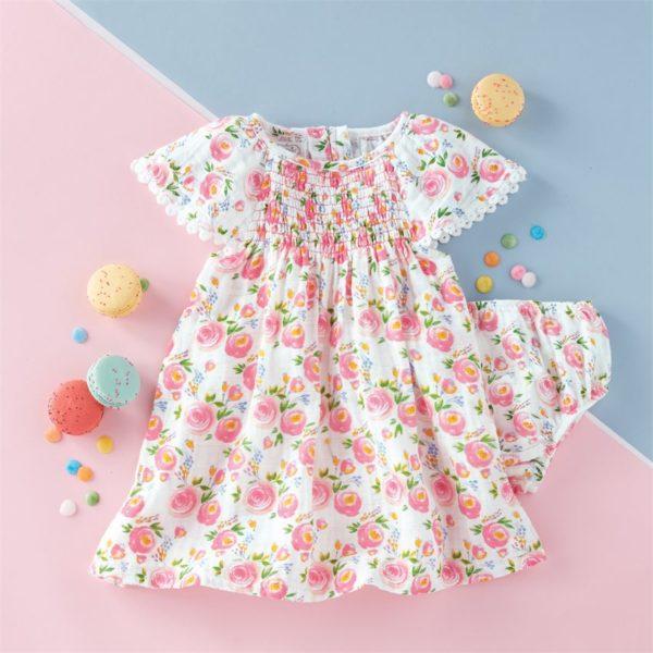 Smocked Rosebud Muslin Dress & Bloomer Set