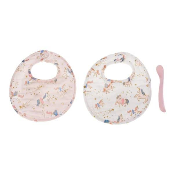Fairy Unicorn Muslin Bib & Spoon Set