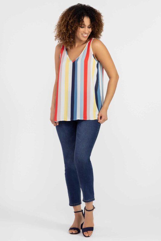 bold stripe sleeveless blouse 1