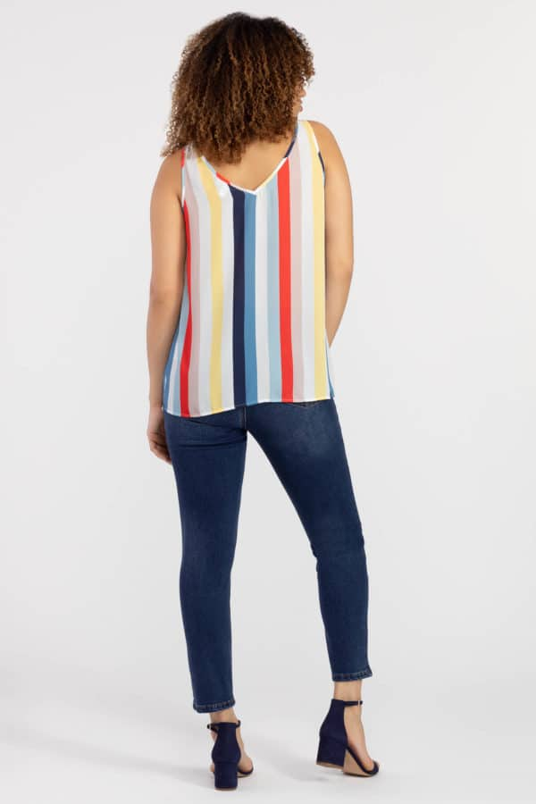 Bold Stripe Sleeveless Blouse