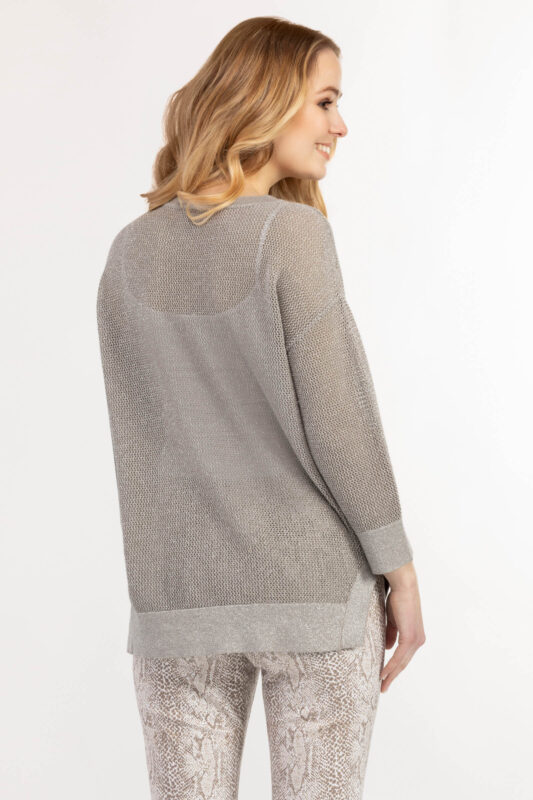 drop shoulder loose knit sweater dry sand 2