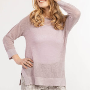 Lilac Drop Shoulder Loose Knit Sweater