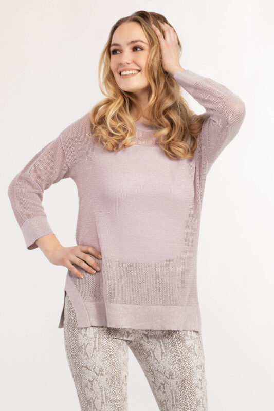 drop shoulder loose knit sweater lilac 1