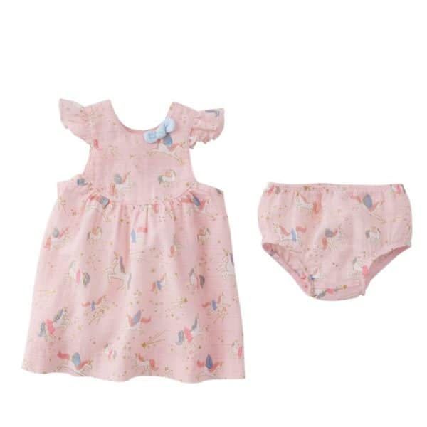 Fairy Unicorn Muslin Dress & Bloomer Set