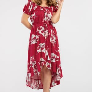 On-And-Off-Shoulder Floral Dress