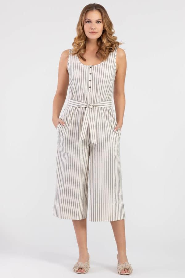 Striped Henley Jumpsuit