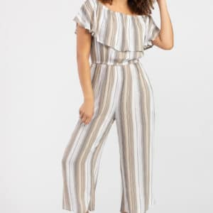 Striped On-And-Off-Shoulder Jumpsuit
