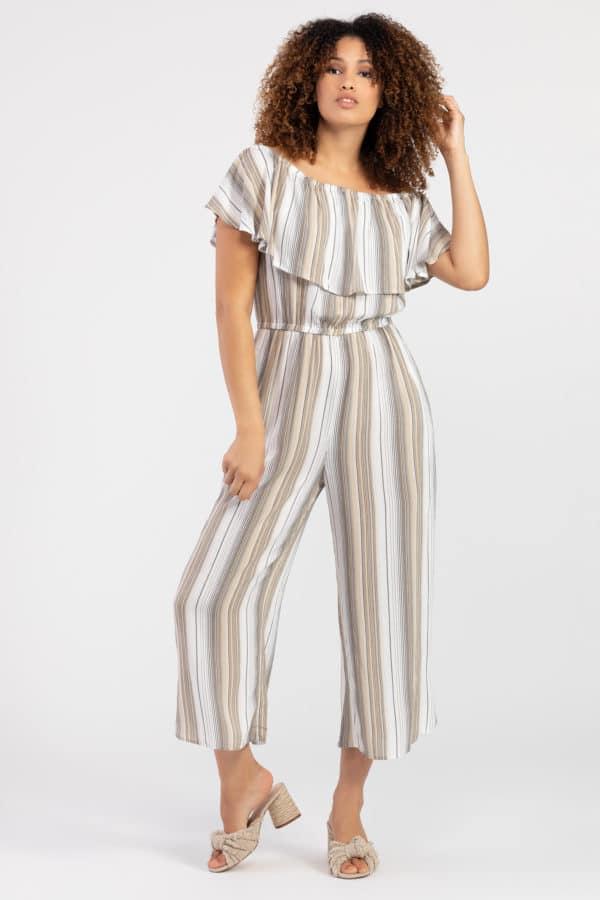 Striped On-And-Off-Shoulder Jumpsuit