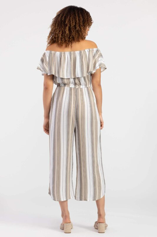 striped on and off shoulder jumpsuit 3