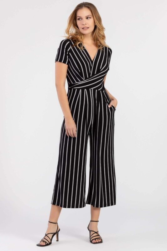 surplice jumpsuit with front pockets 1