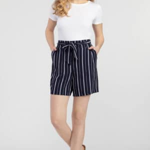 Tie-Waist Striped Shorts