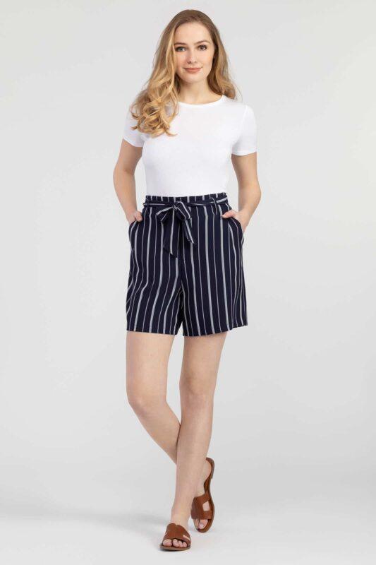 tie waist striped shorts 1