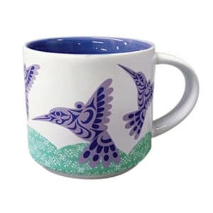 Ceramic mug. Hummingbird by Joe Wilson-Sxwaset.