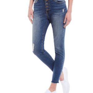 Connie Exposed Button High Rise Skinny