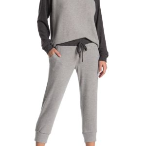Colorblock Brushed Knit Cropped Jogger & Cropped Crew