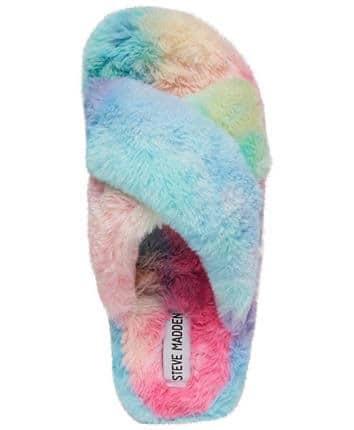 Blue Fuzed Cross-Band Slipper