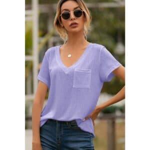 Lavender Esley Short Sleeve Basic T
