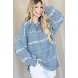 Lovely J Comfy Charcoal Tie-Dye Print Sweater
