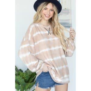 Lovely J Comfy Rust Tie-Dye Print Sweater
