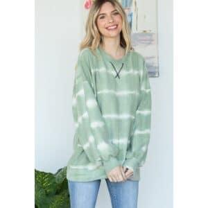 Lovely J Comfy Sage Tie-Dye Print Sweater