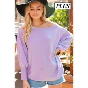 Plus Size Stripe Textured One Shoulder Knit Top